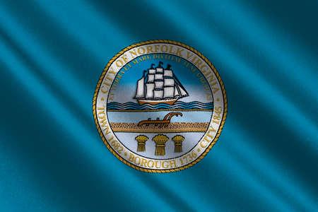 Flag of Norfolk, Virginia, United States. 3D illustration