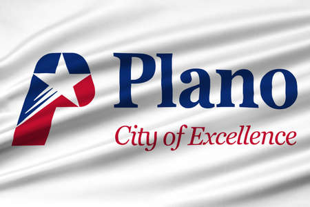 plano: Flag of Plano in Texas, United States. 3D illustration Stock Photo