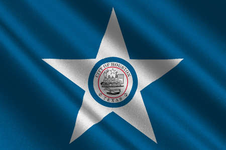 americana: Flag of Houston city in Texas, United States. 3D illustration