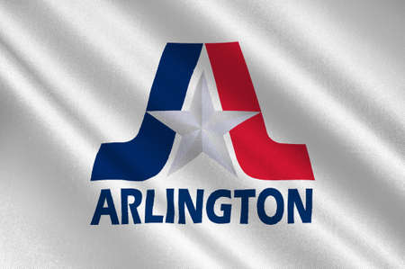 Flag of Arlington in Texas state, USA. 3D illustration