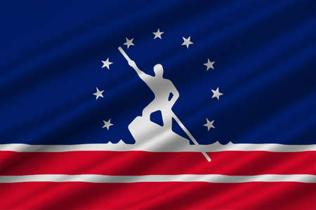 3d virginia: Flag of Richmond is the capital of Virginia, United States. 3D illustration