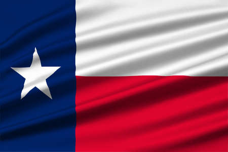 Flag of Texas is the second largest state of United States. 3D illustration