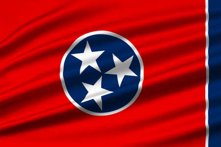 americana: Flag of Tennessee is a state of United States. 3D illustration Stock Photo