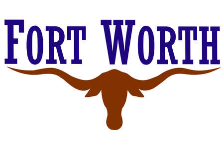 Flag of Fort Worth is the city in Texas, United States. 3D illustration