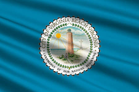 Flag of Virginia Beach is city in state of Virginia, USA. 3D illustration Stock Photo