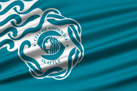 americana: Flag of Seattle is a West Coast seaport city, USA. 3D illustration
