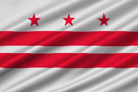 district of columbia: Flag of Washington, D.C., formally the District of Columbia of the United States. 3D illustration