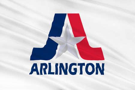 Flag of Arlington in Texas state, USA. 3D illustration