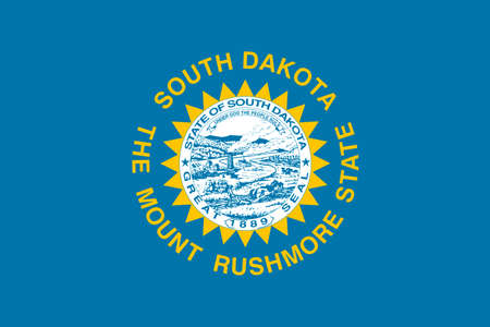 Flag of South Dakota is a state of United States. 3D illustration Stock Photo