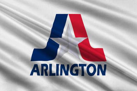 americana: Flag of Arlington in Texas state, USA. 3D illustration