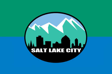 Flag of Salt Lake City is the capital state of Utah, USA. 3D illustration