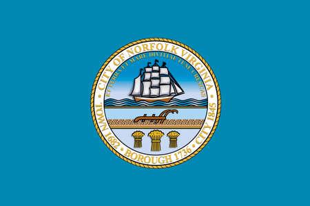 americana: Flag of Norfolk, Virginia, United States. 3D illustration