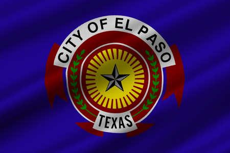 houston flag: Flag of El Paso in Texas, United States. 3D illustration Stock Photo