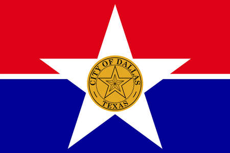 Flag of Dallas is a major city in the state of Texas, United States. 3D illustration