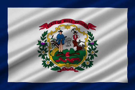 Flag of West Virginia is a state in Southern United States. 3D illustration