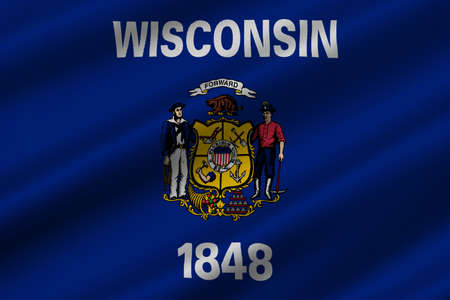 american midwest: Flag of Wisconsin in the north-central United States. 3D illustration