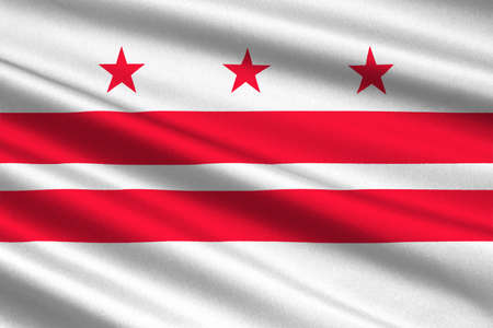 Flag of Washington, D.C., formally the District of Columbia of the United States. 3D illustration