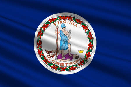 3d virginia: Flag of Virginia state in the South Atlantic region of United States. 3D illustration