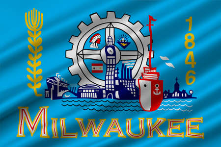 midwest: Flag of Milwaukee in the State of Wisconsin of United States. 3D illustration