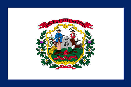 3d virginia: Flag of West Virginia is a state in Southern United States. 3D illustration
