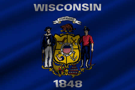 midwest: Flag of Wisconsin in the north-central United States. 3D illustration