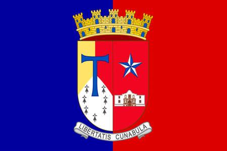houston flag: Flag of San Antonio in Texas, United States. 3D illustration