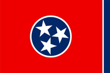 Flag of Tennessee is a state of United States. 3D illustration Stock Photo