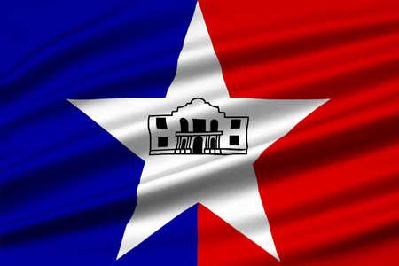 Flag of San Antonio in Texas, United States. 3D illustration