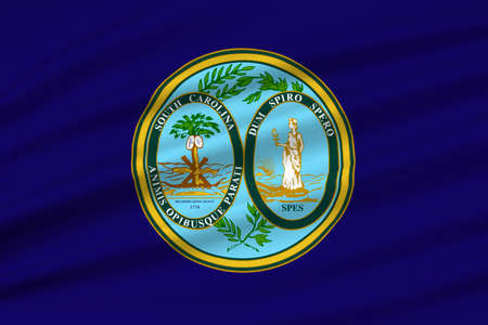 southern: Flag of South Carolina is a state of the United States. 3D illustration