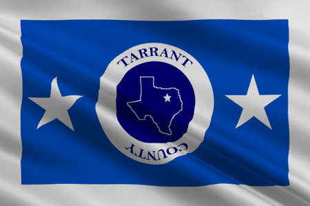 Flag of Tarrant County in Texas State, USA. 3D illustration Stock Photo
