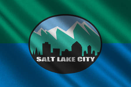 Flag of Salt Lake City is the capital state of Utah, USA. 3D illustration