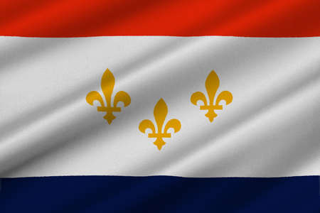 Flag of New Orleans in the state of Louisiana, United States. 3D illustration