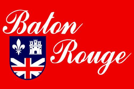 rouge: Flag of Baton Rouge is the capital of Louisiana, United States. 3D illustration