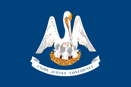 baton rouge: Flag of Louisiana is a state of United States. 3D illustration