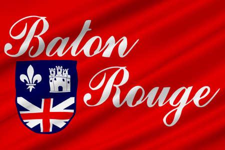 Flag of Baton Rouge is the capital of Louisiana, United States. 3D illustration