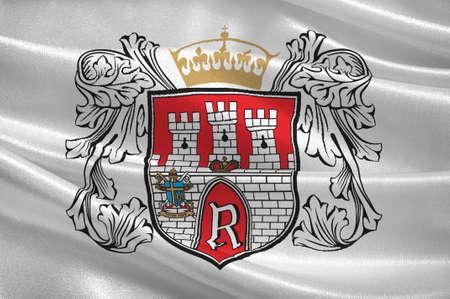 Flag of Radom city in Masovian Voivodeship in eastern Poland. 3d illustration