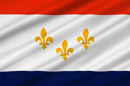 new orleans: Flag of New Orleans in the state of Louisiana, United States. 3D illustration
