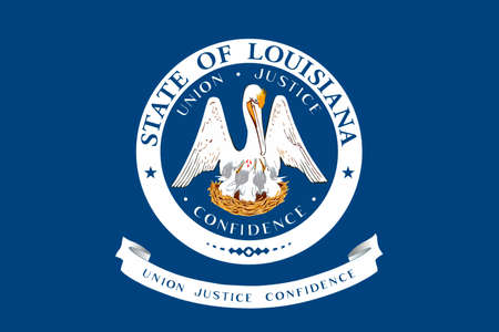 Flag of Louisiana is a state of United States. 3D illustration