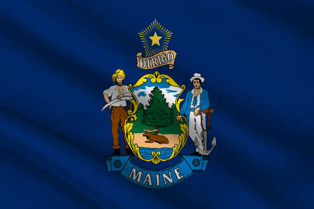 Flag of Maine is a state in New England of United States. 3D illustration Stock Photo