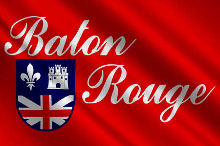 baton rouge: Flag of Baton Rouge is the capital of Louisiana, United States. 3D illustration