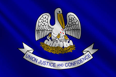 rouge: Flag of Louisiana is a state of United States. 3D illustration