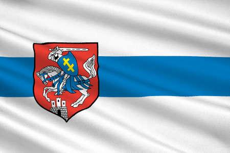 Flag of Siedlce city in Masovian Voivodeship in eastern Poland. 3d illustration