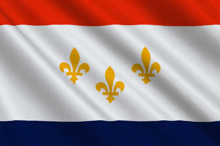 baton: Flag of New Orleans in the state of Louisiana, United States. 3D illustration