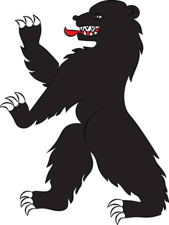 armorial: Bear in attacking the rack. Vector image Illustration