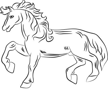 armorial: Silhouette of a horse with a raised leg. Vector image