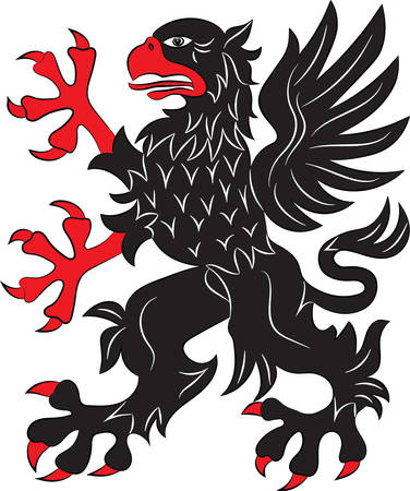 Griffin heraldry symbol - vector illustration. Silhouette or outline.