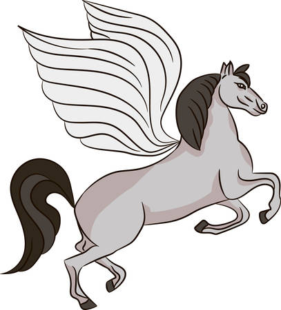armorial: Silhouette of a horse with wings - Pegasus. Vector image