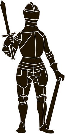 armorial: Medieval knight in iron armor. Vector image Illustration