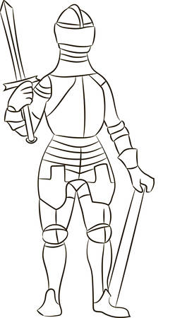 panoply: Medieval knight in iron armor. Vector illustration Illustration