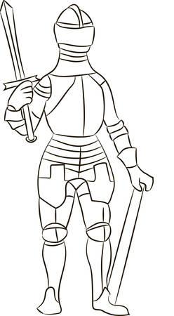 Medieval knight in iron armor. Vector illustration Illustration